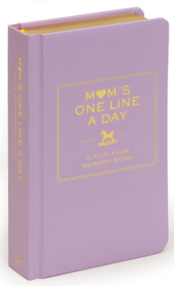 This is an image of mom's 5 year memory journal book in gold and purple colors