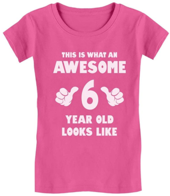 This is an image of girl's 6th t-shirt in pink color