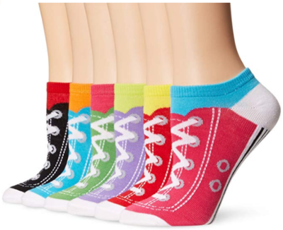 This is an image of girl's 6 pack low socks with shoe design in colorful colors
