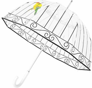 This is an image of a clear bubble birdcage umbrella with white leather handle by Kung Fu Smith.