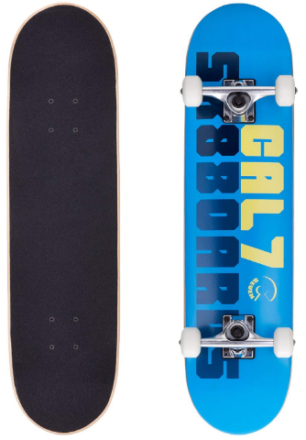 This is an image of kid's 8 inch skateboard with cool graphics in blue color