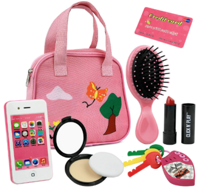This is an image of girl's 8 pieces pretend purse in pink color