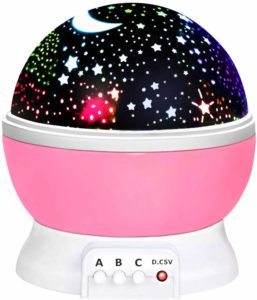 This is an image of a light pink night light for kids.