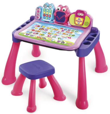 This is an image of girl's activity desk in pink and purple colors