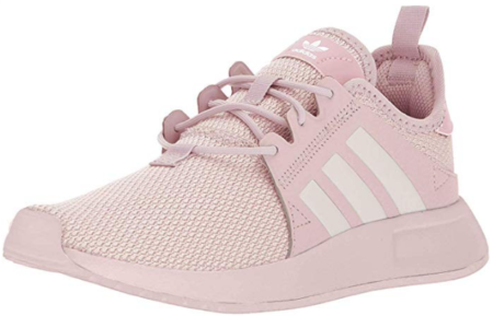 This is an image of girl's adidas running shoe in white and pink colors