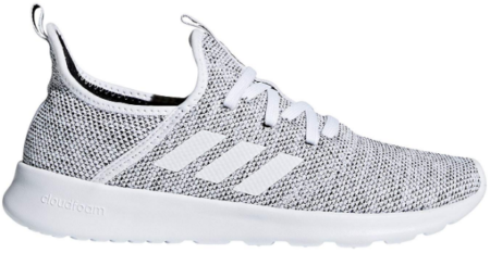 This is an image of girl's adidas running shoe in gray and white colors
