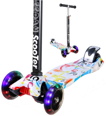 This is an image of kid's kicj scooter with adjustable hight and 3 wheels with lights in colorful colors