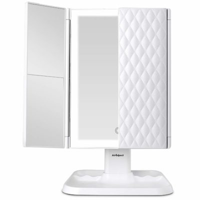 This is an image of a white vanity mirror with lights by AirExpect,