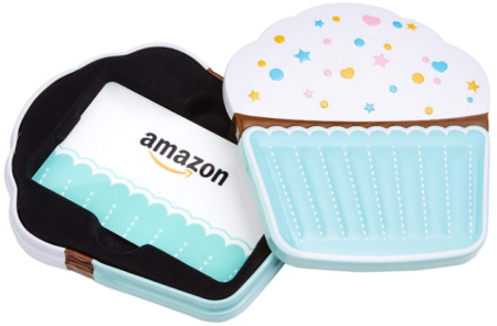 This is an image of girl's Amazon gift card in birthday cupcake