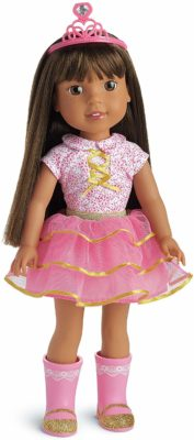 This is an image of a pink Ashlyn doll for little girls by American Girl.