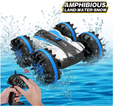 This is an image of kid's amphibious remote control car in blue color