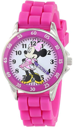 This is an image of girl's analog watch with minnie mouse graphics in pink color