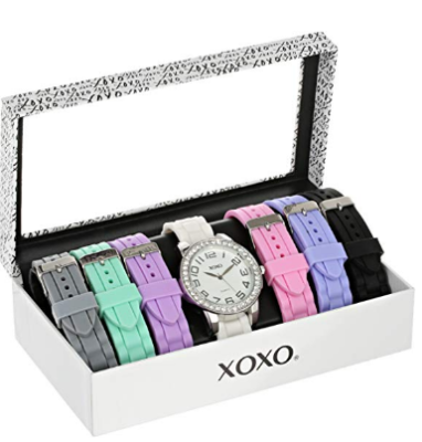 This is an image of girl's analog watch pack in colorful colors