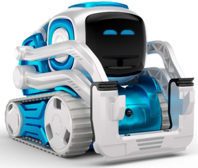This is an image of girl's anki cozmo robot toy in blue and white colors