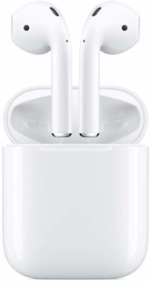 This is an image of a white AirPods by Apple.