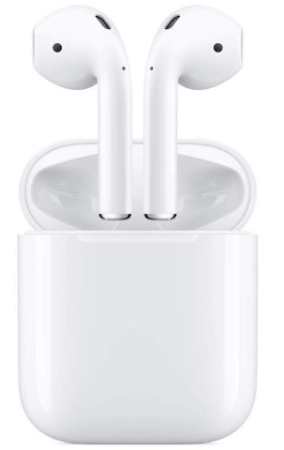 This is an image of boy's Apple airpods in white color