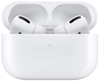 This is an image of girl's apple airpods pro in white color