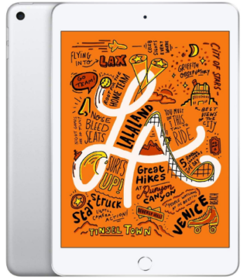 This is an image of girl's apple ipad mini in white and silver colors