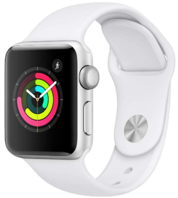 This is an image of girl's apple watch series 3 in white color