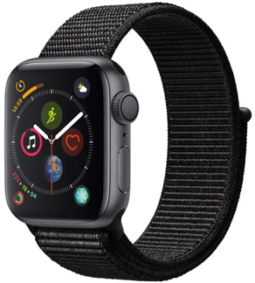 This is an image of boy's Apple watch Series 4 with Sport loop in gray color