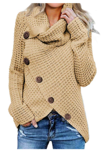 This is an image of a biege turtle neck sweater for ladies by Asvivid