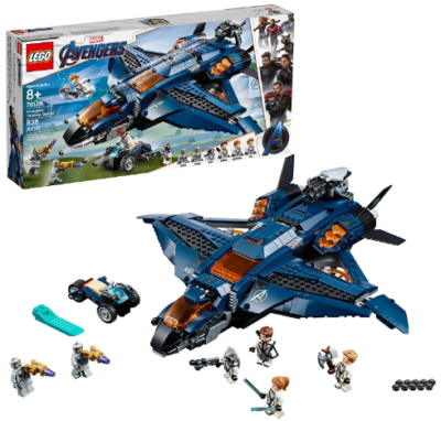 This is an image of kid's Lego marvel avengers ultimate quinjet building set