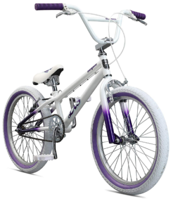 This is an image of girl's bmx bike in white and purple colors