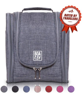 This is an image of a quartz gray hanging toiletry bag for men by BOACAY.