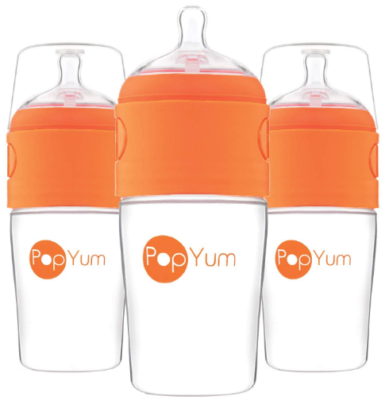 This is an image of baby's bottle 3 pack by Popyum in orange color