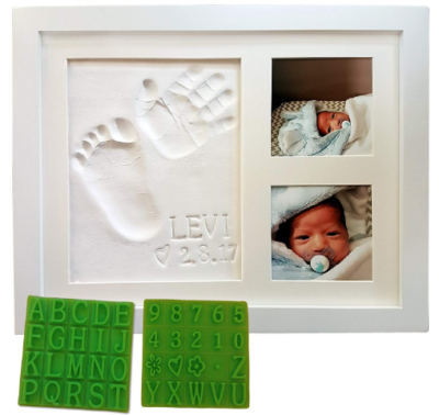 This is an image of mom's handprind and footprint photo frame kit for her baby in white color