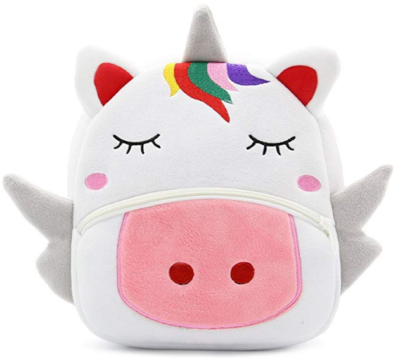 This is an image of girl's backpack animal plush in white color