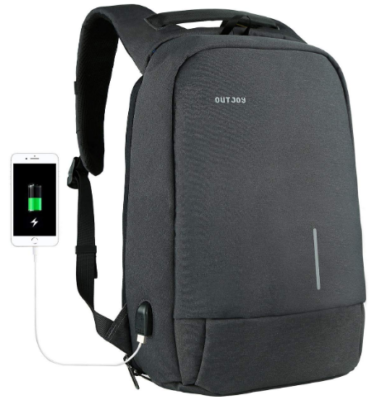 This is an image of boy's backpack anti theft with usb port charger in black color