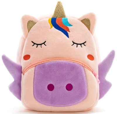 This is an image of girl's backpack with unicorn theme in pink and purple colors