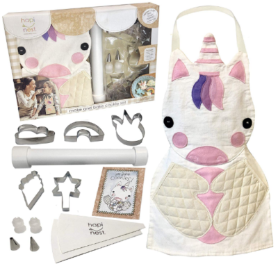 This is an image of girl's Baking costume with unicorn theme in white color
