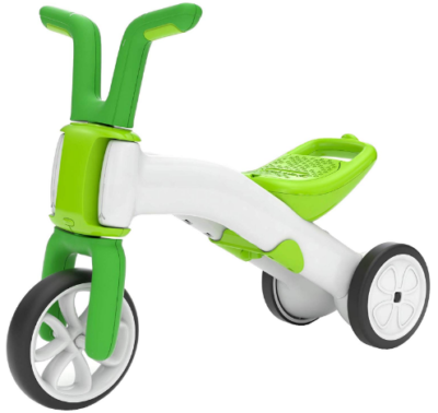This is an image of toddler's balance tricycle in green and white colors