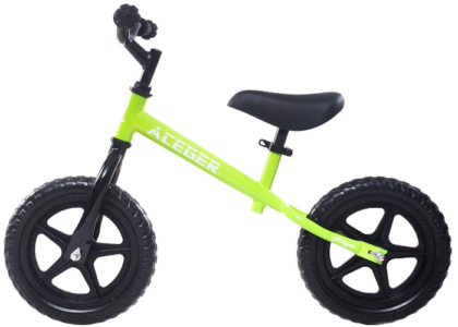 This is an image of toddler's no pedal balance bike in green color