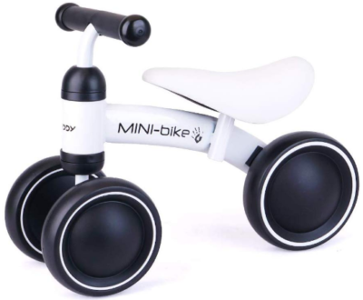 This is an image of toddler boys balance bike in white color