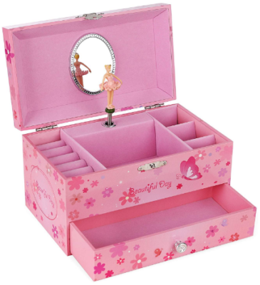 This is an image of girl's ballerina mysic jewlery box in pink color