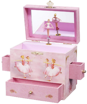 This is an image of girl's ballerina musical jewelry box in pink color