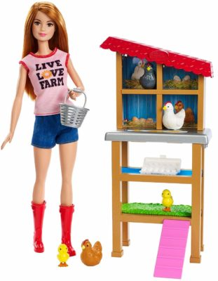 This is an image of a Barbie farmer doll for little girls.