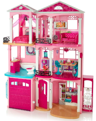 This is an image of girl's barbie dream house building set in pink color