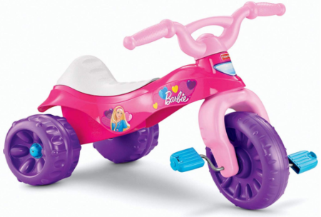 This is an image of girl's barbie tough trike in colorful colors