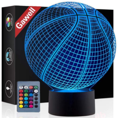 This is an image of boy's basketball 3D lamp with remote control in blue color