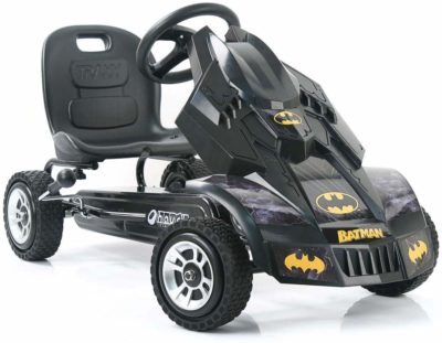This is an image of a black Batmobile pedal kart by Hauck.