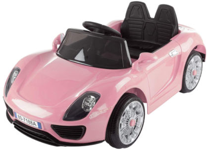 This is an image of girl's power wheels battery powered remote control car in pink color