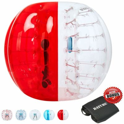 This is an image of a half red bumper ball with carry bag by Baturu.