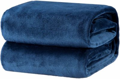 This is an image of a blue throw blanket for men by Bedsure.