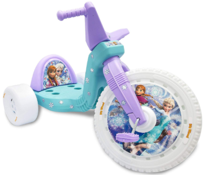 This is an image of girl's big wheel bike with disney frozen theme in blue and purple colors