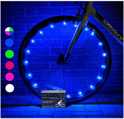 This is an image of boy's bike wheel lights in colorful clors