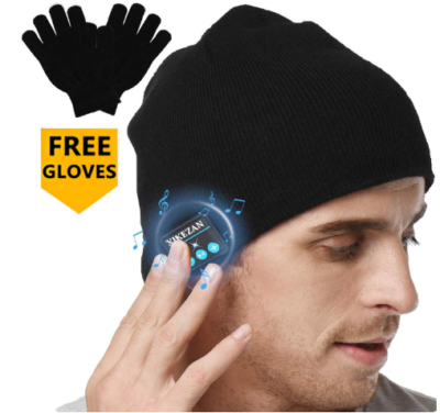 This is an image of boy's Bluetooth beaunie hat with free gloves in black color